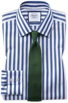 Charles Tyrwhitt Classic Fit Non-Iron Blue Wide Bengal Stripe Cotton Dress Shirt Single Cuff Size 16.5/33