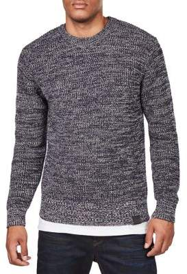 G Star Leather-Trimmed Cotton Sweater