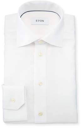 Eton Slim-Fit Textured Cotton Dress Shirt, White