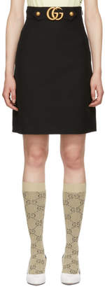 Gucci Black Wool GG A-Line Skirt