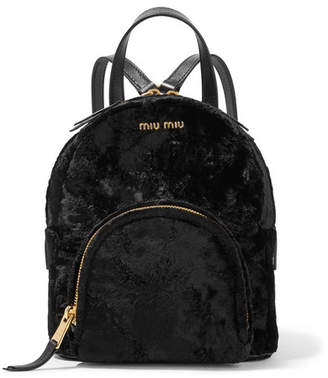 Miu Miu Leather-trimmed Velvet Backpack - Black