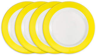 Q Squared Bistro Yellow Melamine 4-Pc. Dinner Plate Set