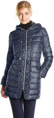 Kenneth Cole New York Women's Packable Down Coat with Cinch Waist