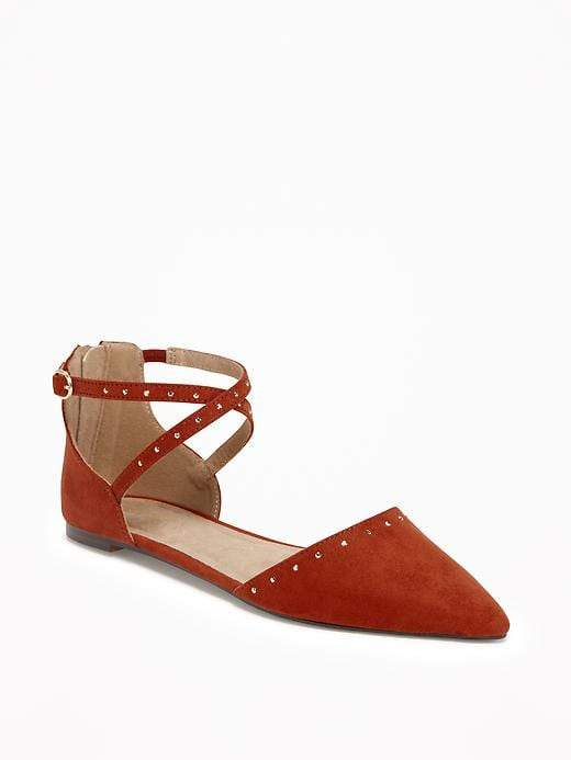 Sueded Strappy D'Orsay Flats for Women