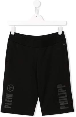 Philipp Plein Junior TEEN logo print shorts