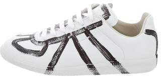 Maison Margiela Leather Painted Sneakers w/ Tags