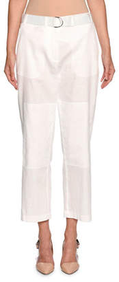 Giorgio Armani Belted Cropped Utility Pants, White