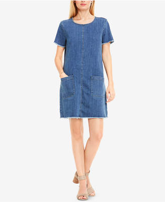 TWO by Vince Camuto Frayed Denim Shift Dress $119 thestylecure.com
