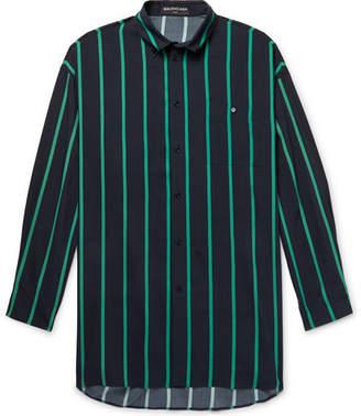 Balenciaga Oversized Button-Down Collar Striped Woven Shirt