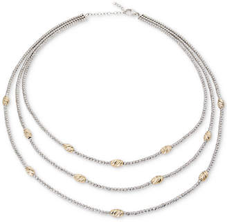 "Giani Bernini Two-Tone Beaded Three-Layer Necklace in Sterling Silver & 18k Gold-Plate, 16"" + 2"" extender"