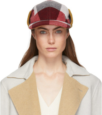 Rag & Bone Red and White Plaid Pilot Cap