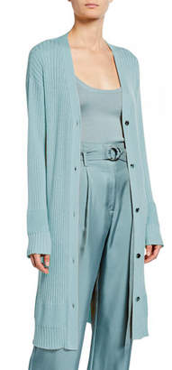 Sally LaPointe Lightweight Cashmere-Silk Ribbed Duster Cardigan, Blue