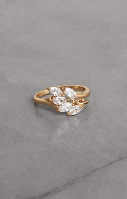 BCBGMAXAZRIA Crystal Leaf Ring