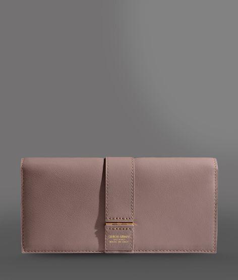 Giorgio Armani Fold-Over Wallet In Logoed Calfskin