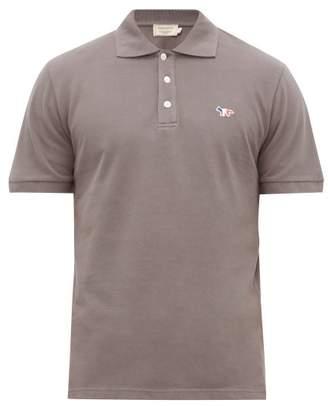 MAISON KITSUNÉ Fox Patch Applique Cotton Polo Shirt - Mens - Dark Grey