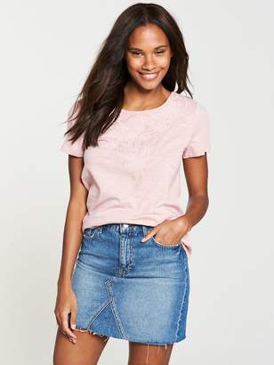 Very Embroidered Insert Top - Blush