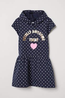 H&M Jersey Dress with Hood - Blue