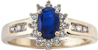 JCPenney FINE JEWELRY Oval Genuine Sapphire and 1/3 CT. T.W. Diamond 10K Yellow Gold Ring