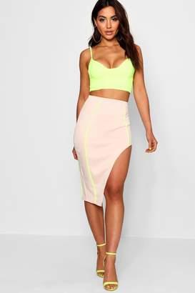 boohoo Emma Asymmetric Side Split Midi Skirt