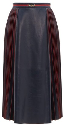 Gucci Pleated Leather Midi Skirt - Womens - Navy Multi