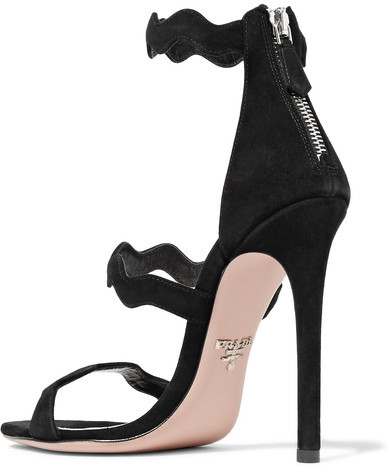 Prada - Scalloped Suede Sandals - Black 3