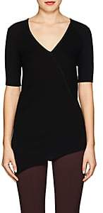 Helmut Lang Women's Rib-Knit Cotton Asymmetric Top - Black