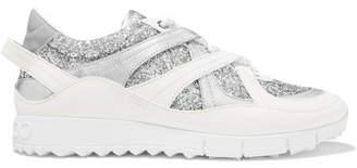 Jimmy Choo Seattle Metallic-trimmed Glittered-leather Sneakers - Silver