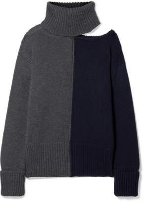 Monse Cutout Two-tone Wool Turtleneck Sweater - Dark gray
