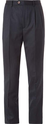 Brunello Cucinelli Slim-Fit Pleated Pinstriped Wool-Flannel Trousers