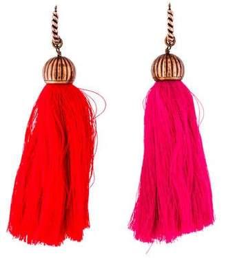 Lanvin Enameled Tassel Drop Earrings