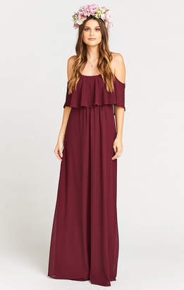 Show Me Your Mumu Caitlin Ruffle Maxi Dress ~ Merlot Chiffon