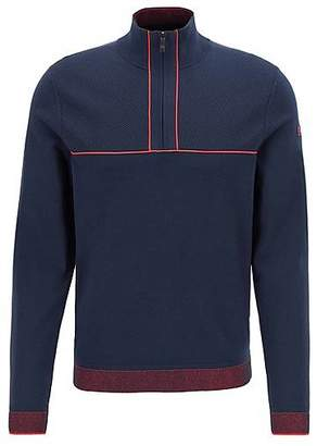 HUGO BOSS Zip-neck knitted sweater with piping details