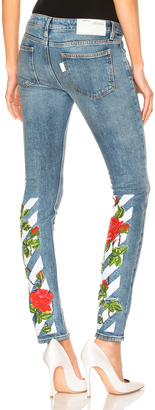 OFF-WHITE Diagonal Roses Skinny 5 Pocket Jeans $739 thestylecure.com
