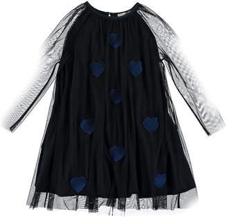 Stella McCartney Heart Patch Long-Sleeve Tulle Dress, Size 4-14