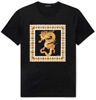 Versace Slim-fit Printed Cotton-jersey T-shirt - Black