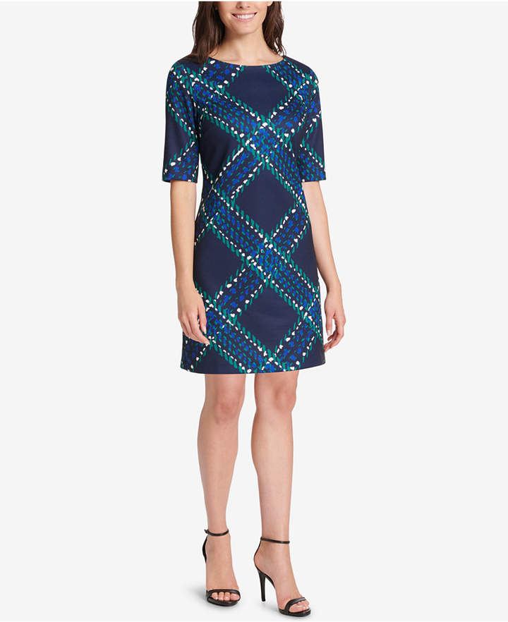 Jessica Howard Printed Elbow-Sleeve Sheath Dress