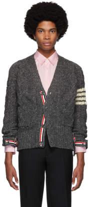 Thom Browne Grey Aran Cable Knit 4-Bar Cardigan