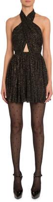 Saint Laurent Golden Shimmer Halter Dress