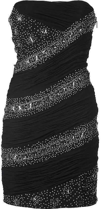 ROBERTO CAVALLI Black Crystals/Beads-Embroidered Strapless Dress