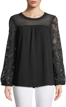 Neiman Marcus Scoop-Neck Lace-Sleeve Blouse