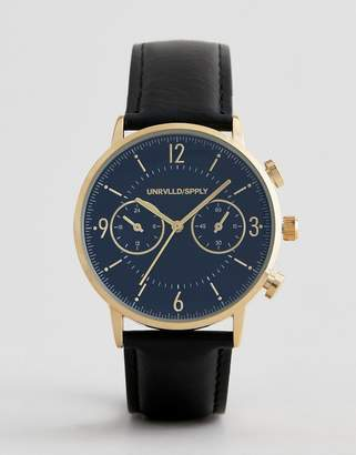 Asos DESIGN watch with contrast navy dial in black faux leather