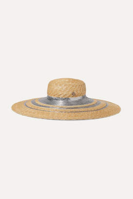 Maison Michel Bianca Metallic-trimmed Straw Hat - Sand