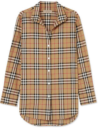 Burberry Checked Cotton-poplin Shirt - Beige