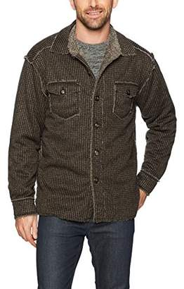 True Grit Men's Pebble Faux Sueded Raw Edge Button Jacket with Pockets