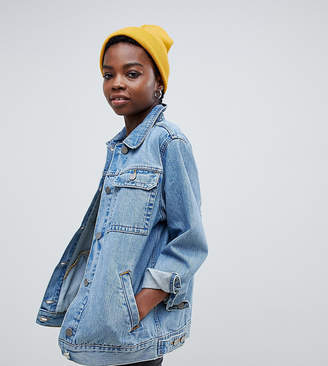 Asos DESIGN Petite denim girlfriend jacket in stone wash blue