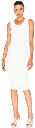 Victoria Beckham Linear Smocked Lace Fitted Dress