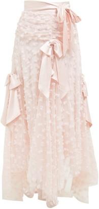 Rodarte Satin Bow Applique Layered Tulle Midi Skirt - Womens - Light Pink