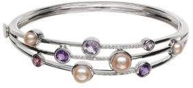 Lord & Taylor Sterling Silver Fresh Water Pearl and Diamond Bangle
