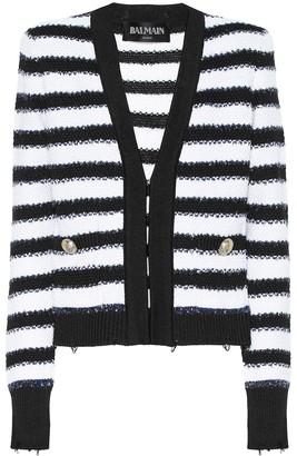 Balmain Striped knit jacket
