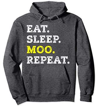 Eat Sleep Moo Repeat Competitive Mooing Pullover Hoodie